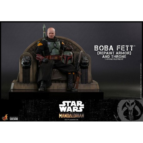 Boba Fett (Repaint Armor) and Throne - Star Wars The Mandalorian Figura 1/6